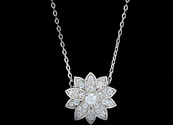 Micro Pave Setting Floral Necklace With Gift Box