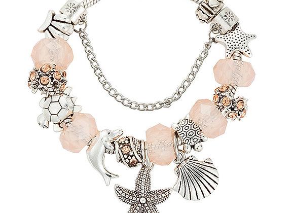 Zinc Alloy Starfish Antique Rhinestone Charm Bracelet With Size Option