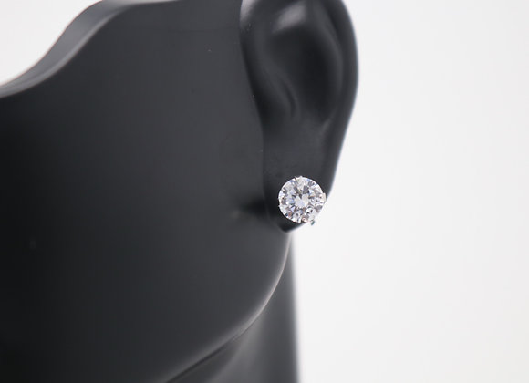 CZ Stone Stud Earrings SS With Gift Box