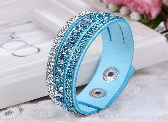 Zinc Alloy Rhinestone Snap Clasp Bracelet