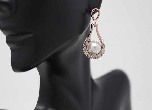 Fashion CZ Pearl Dangle Earrings With Gift Box