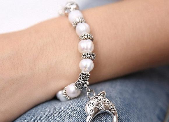 Zinc Alloy Fish antique Freshwater Pearl Charm Bracelet