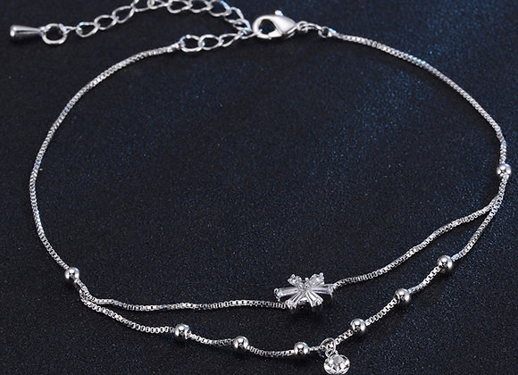 Anklet Cubic Zirconia Double Chain Floral Micro Pave