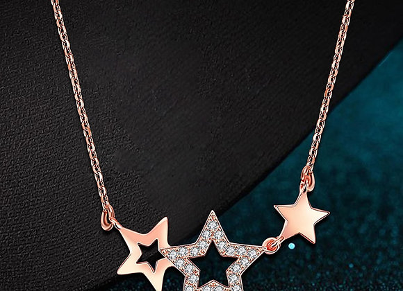 "Rose Gold Plated Three Star 16""-18"" Size Necklace"