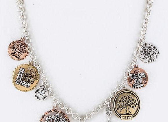 Multi Tone Tree Necklace Set With Gift Box