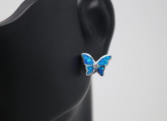 Butterfly Stud Sea Blue Opal Earrings SS With Gift Box