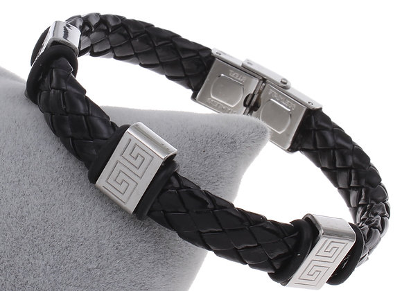 Unisex Leather Stainless Steel Clasp Bracelets