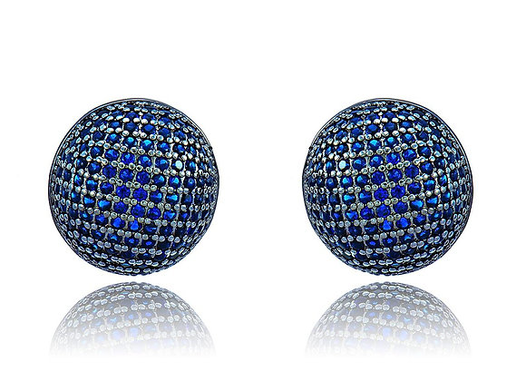 Blue Round Elegant Earrings With Gift Box