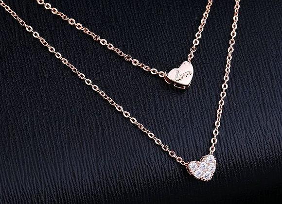 Cubic Zirconia Heart Double Strand Chain
