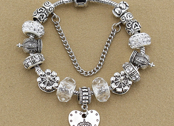 Zinc Alloy Heart antique Clay Pave Lamp Work Rhinestone Charm Bracelet