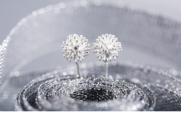 Dangle Flower Stud Earrings 925 SS With Gift Box