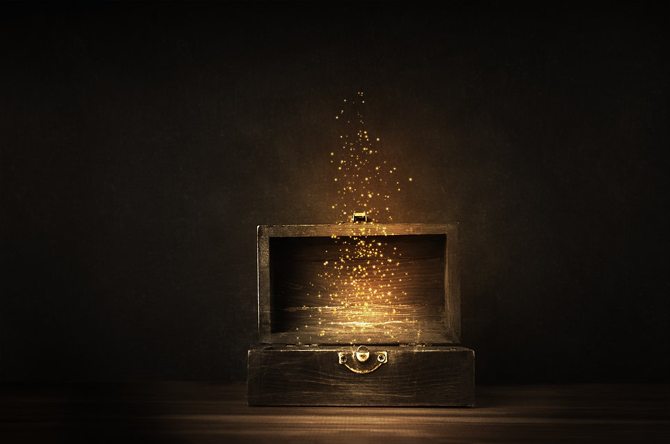 Glowing golden sparkles and stars rising