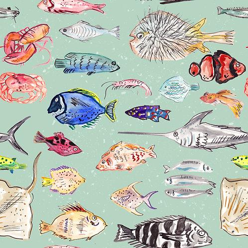 MINT FISHIES PRINT
