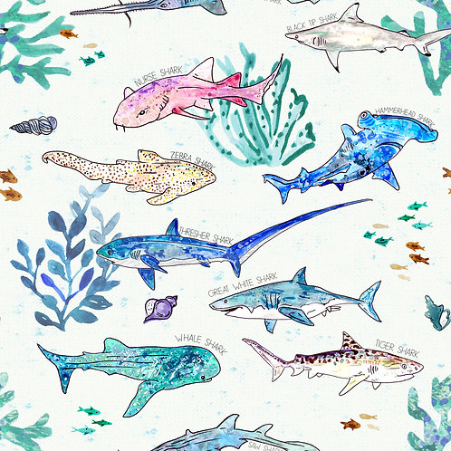 SHARKS OF THE OCEAN PRINT
