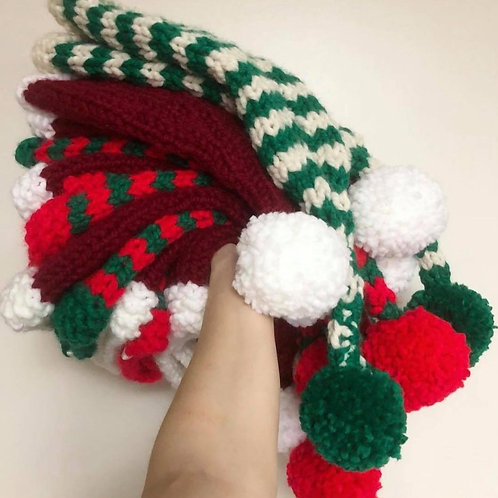 CHRISTMAS KNITTED BOBBLE HATS