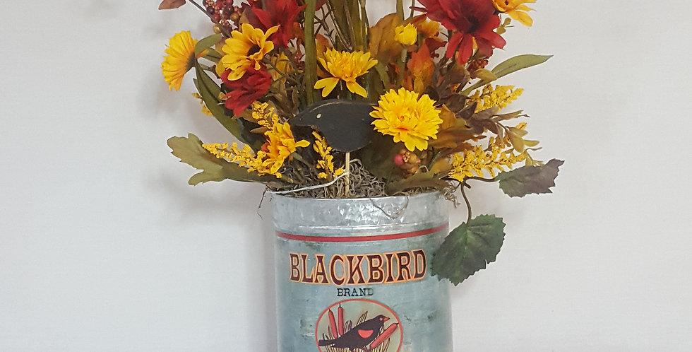 Black Bird Tin Fall Arrangement