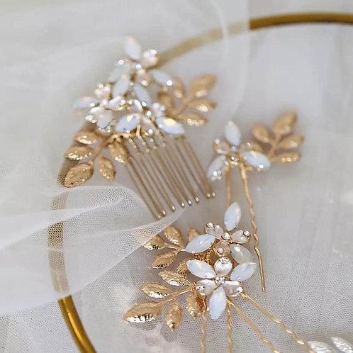 Modern Leaf Bridal Hair  Accessory Comb