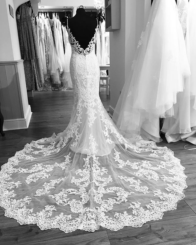 Crystal straps #backlessweddingdress with a beautiful lace train #enzoani #doncaster #weddingdress