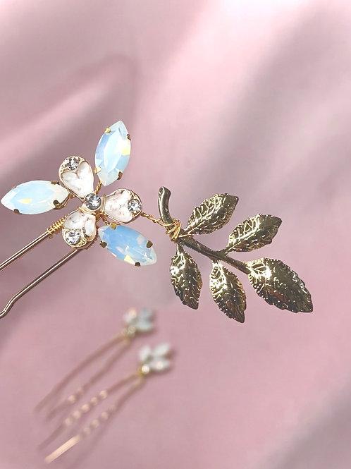 Gold, Crystal and Opal bridal pin