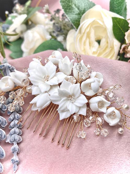 Porcelain Floral bridal Hair Comb