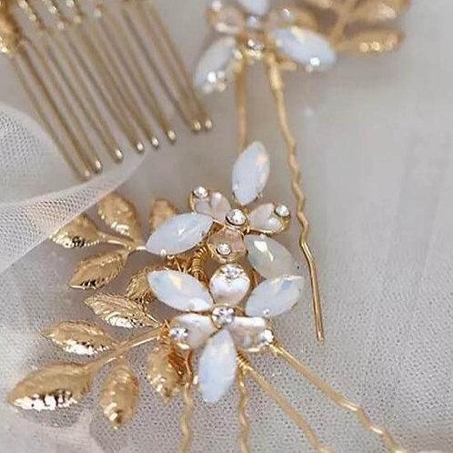 Gold, Crystal and Opal bridal Hair pin