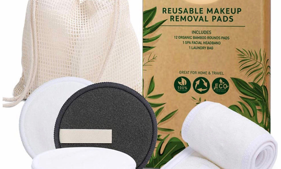 Reusable Makeup Remover Pads with Headband & Mesh Laundry Bag