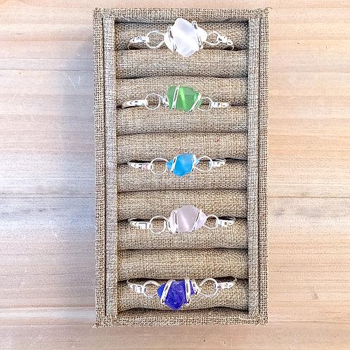 Silver Sea Glass Cuff Bracelet