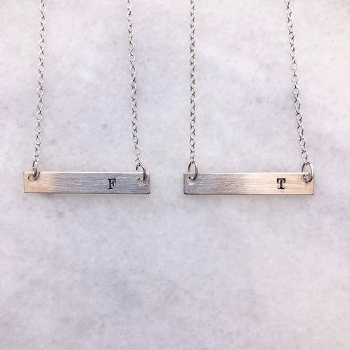 Sterling Silver Hand Stamped Bar Initial Necklace