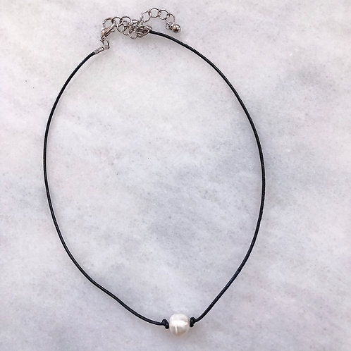 Pearl on Black Leather Cord Choker