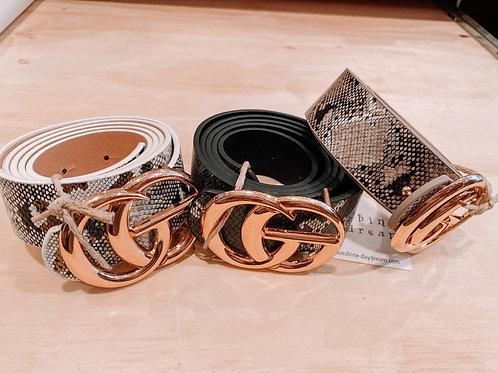 Metallic Snake Skin Belt