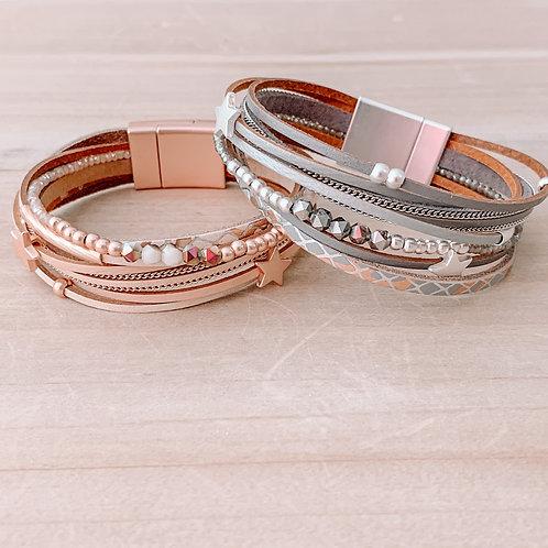 Star Leather Magnetic Bracelet