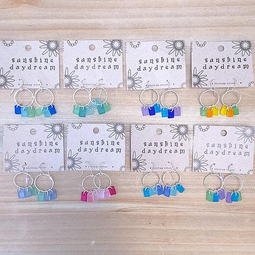 Circle Dangle Sea Glass Earring