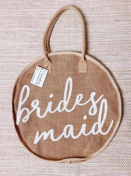 Bridesmaid Round Jute Tote