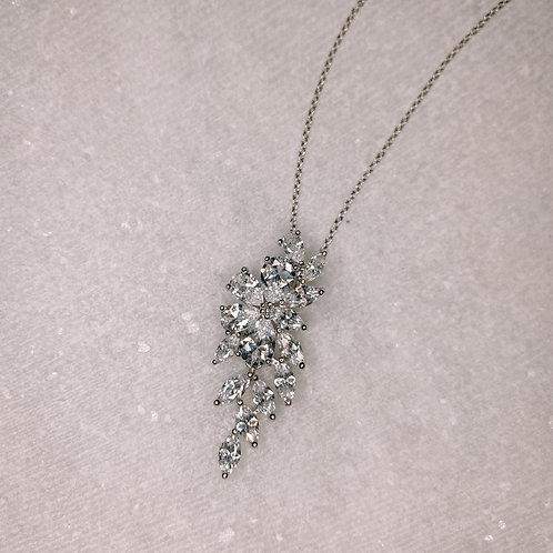 Oval Diamond Cluster Necklace