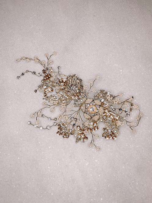 Two Tone Pearl & Crystal Floral Hair Clip