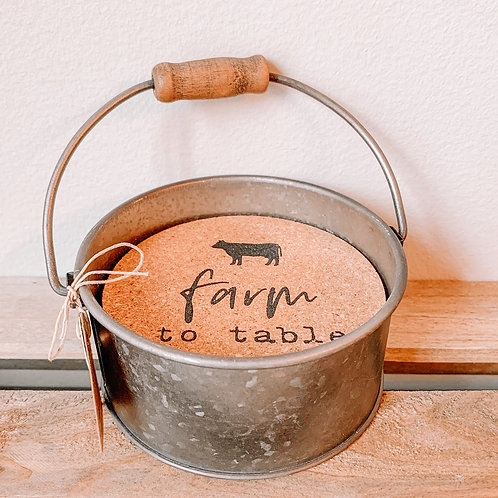 Galvanized Farm House Coaster Set