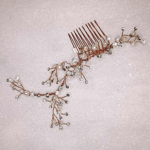 Simple Rose Gold Pearl & Crystal Hair Comb