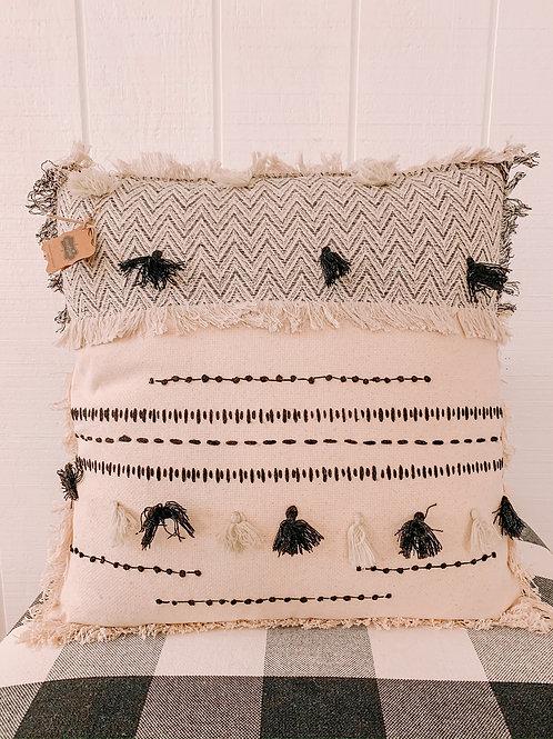 Square White Tassel Pillow