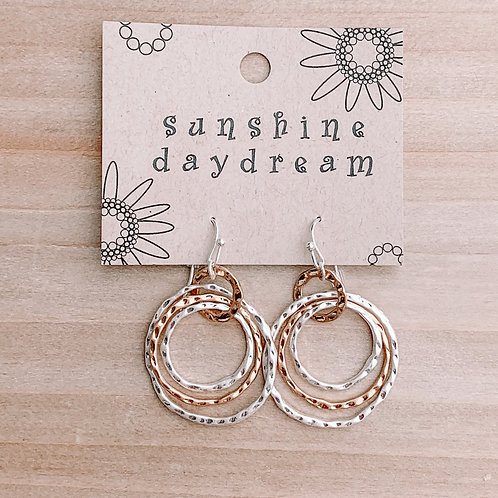 Triple Circle Brushed/Hammered Earring