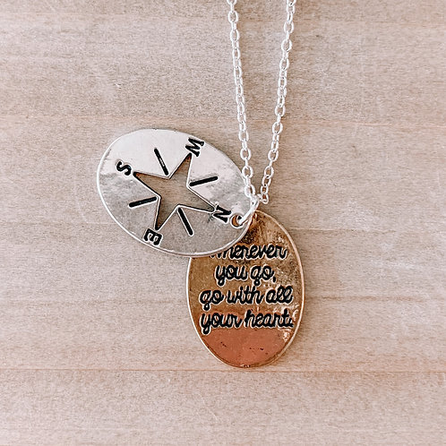 Layered Charm Compass Necklace