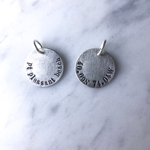 Sterling Silver Large Beach Town/Coordinate Code Disc