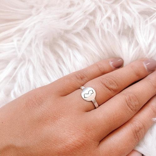Nj Outline Hand Stamped Ring