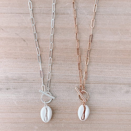 Cowrie Shell Chain Link Necklace