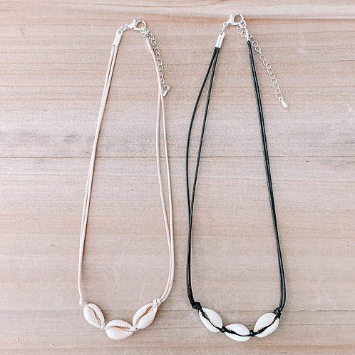 Three Cowrie Shell Leather Necklace