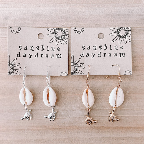 Turtle & Cowrie Shell Earring