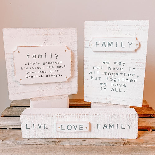Distressed Family Shelf Sitter