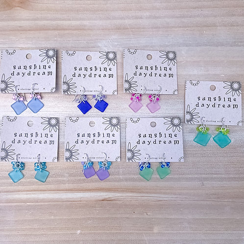Diamond Bead Cluster Sea Glass Earring
