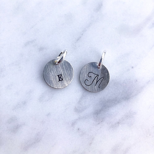 Sterling Silver Small Initial Disc