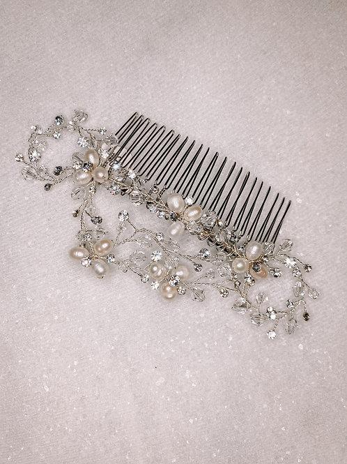 Simple Pearl & Crystal Hair Comb