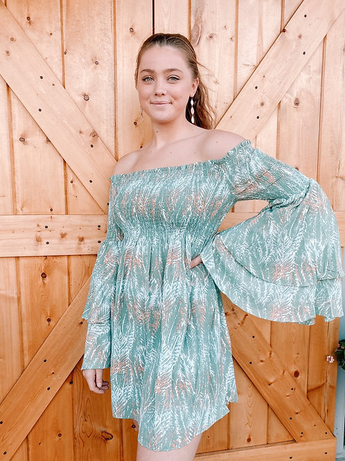 Off The Shoulder Palm Dress